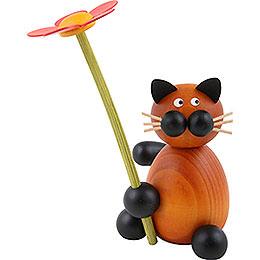 Katze Bommel mit Blume  -  8cm