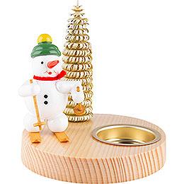 Kerzenhalter Schneemann mit Schneeschuh  -  10cm