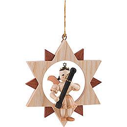 Kurzrockengel mit Fagott im Stern, natur  -  9cm