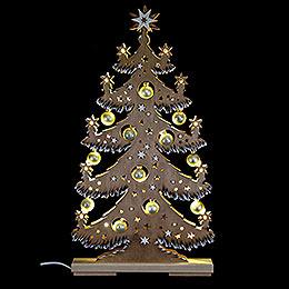 Lichterspitze Tanne goldene Kugeln braun Raureif  -  30,5x57,5cm