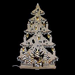 Lichterspitze Tanne mit Zapfen, Schneebällchen, Raureif  -  38x72cm