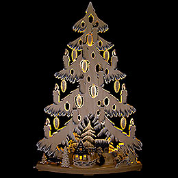 Light Triangle  -  Fir Tree at the Half Timbered House with White Frost  -  38x72cm / 15x28.3 inch
