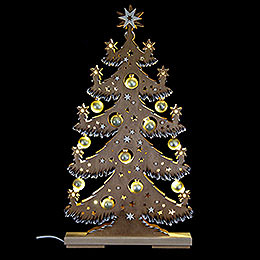 Light Triangle  -  Fir Tree with Golden Balls, Brown, White Frost  -  30,5x57,5cm / 12x22.6 inch