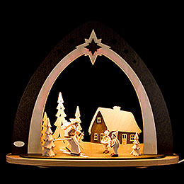 "Light Triangle  -  LED ""Forest Christmas"" Incl. Hand Carved Figures  -  52x53,5x9cm / 20x21x3.5 inch"