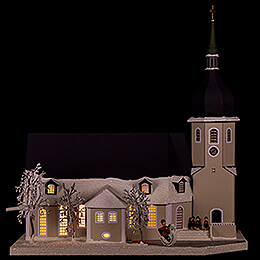 Lighted House Church Olbernhau with Carolers  -  36cm / 14.2 inch
