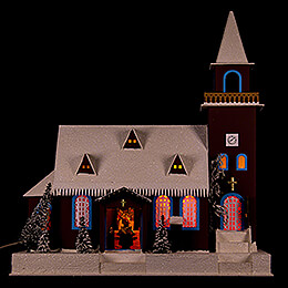 Lighted House Old Church  -  43cm / 16.9 inch