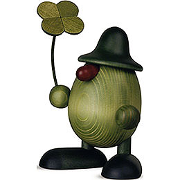 Little Green Man with Four - Leaf Clover, Standing  -  11cm / 4.3 inch