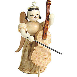Long Pleated Skirt Angel with Violoncello, Natural  -  6,6cm / 2.6 inch