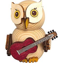 Mini - Eule mit Gitarre  -  7cm