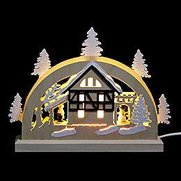 Mini - LED - Schwibbogen Fachwerkhaus  -  23x15x4,5cm
