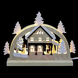 Mini - LED - Schwibbogen Umgebindehaus  -  23x15x4,5cm