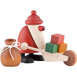 Miniaturen - Set Weihnachtsmann mit Schubkarre  -  4cm