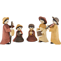Musicians, Set of Three, Stained  -  7cm / 2.8 inch