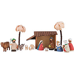 Nativity Set of 15 Pieces Colored  -  11cm / 4.3 inch