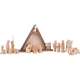 Nativity Set of 16 Pieces, Untreated  -  14,5cm / 5.7 inch