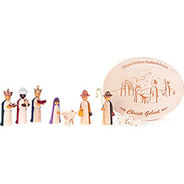 Nativity in Wood Chip Box, colored  -  5cm / 2 inch