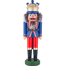 Nussknacker König mit Krone blau matt  -  43cm