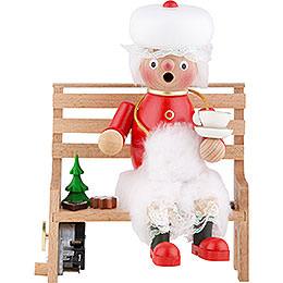 Räuchermännchen Frau Santa auf der Bank  -  23cm