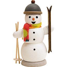 Räuchermännchen Schneemann mit Skiern  -  13cm