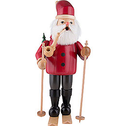 Räuchermännchen Weihnachtsmann mit Ski  -  rot  -  52cm
