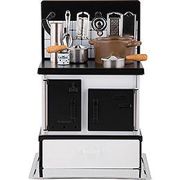 Räucherofen Küchenherd weiß - schwarz  -  21cm