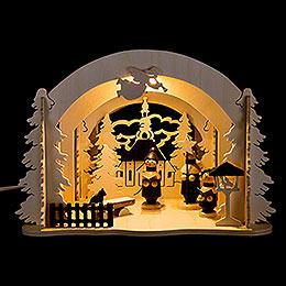 Raumleuchte als Diorama Seiffener Markt  -  19cm