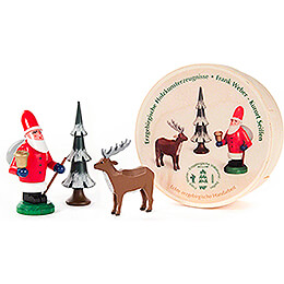 Santa Claus, Tree and Deer in Wood Chip Box  -  5,5cm / 2.2 inch