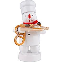Schneemann Bäcker mit Kuchenbrett und Brezel  -  8cm