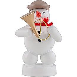 Schneemann Musikant mit Fanfare  -  8cm