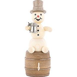 Schneemann mit Krug auf Bierfaß  -  13cm