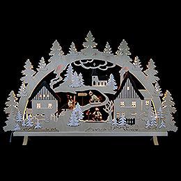 Schwibbogen Erzgebirgsdorf mit Figuren, Übergröße  -  125x82x16cm