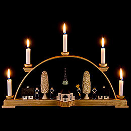 Schwibbogen mit Seiffener Kirche und Kurrende  -  44x19,5cm