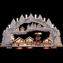 Schwibbogen verschneiter Weihnachtsmarkt  -  72x43x13cm