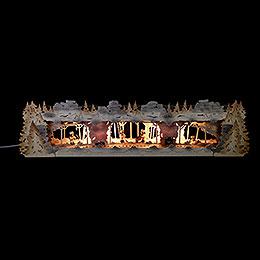 Schwibbogenerhöhung Bergbau mit Bergleuten exclusiv Thielfiguren, beleuchtet  -  79x20x16cm