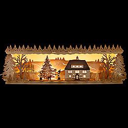 Schwibbogenerhöhung Seiffener Rathaus mit Weihnachtsbaum  -  60x17cm
