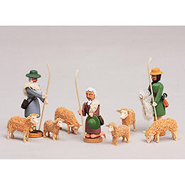 Seiffen Nativity  -  Shepherds and Sheeps  -  9 pieces  -  8cm / 3.1 inch