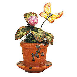 Set of Three -  Flower Pot Clover Flower  -  6cm / 2,5 inch