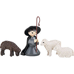 Shepherd kneeling with 3 Sheep, Colored  -  7cm / 2.8 inch