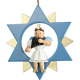 Short Skirt Angel with Pan Pipe in Star, Colored  -  9cm / 3.5 inch