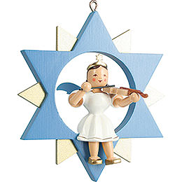 Short Skirt Angel with Violin in Star, Colored  -  9cm / 3.5 inch