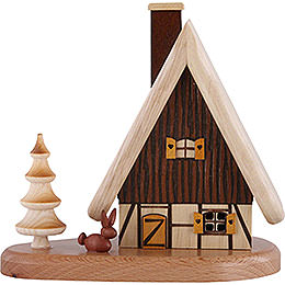 Smoker  -  House on Pedastal, Natural  -  16x15,5x10cm / 3.9 inch