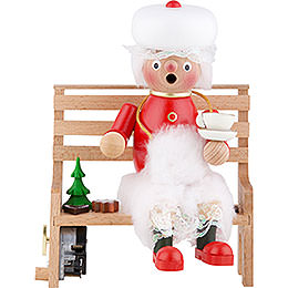 Smoker  -  Mrs. Santa on Bench  -  23cm / 9.06 inch