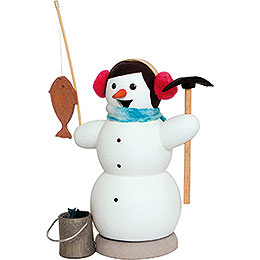 Smoker  -  Snowman as Ice Fisher  -  13cm / 5.1 inch