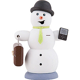 Smoker  -  Snowman with Brief Case  -  13cm / 5.1 inch