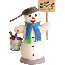 Smoker  -  Snowman with Sign 'caution Black Ice'  -  13cm / 5.1 inch