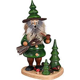 Smoker  -  Woodman Holzsammler on Podest Green  -  21cm / 8.3 inch