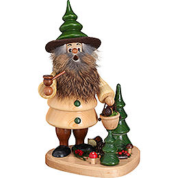 Smoker  -  Woodman Mushroom Collector on Podest Natural  -  21cm / 8.3 inch