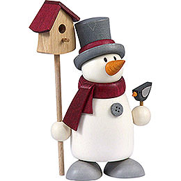 Snow Man Fritz with Bird House  -  9cm / 3.5 inch