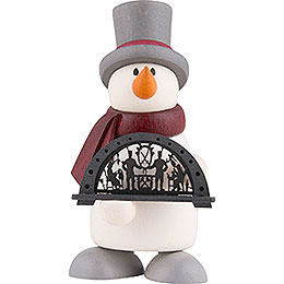 Snowman Fritz with Candle Arch  -  9cm / 3.5 inch