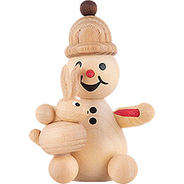 "Snowman  -  Junior ""sitting rabbit feed""  -  7cm / 2.8 inch"